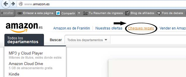 como comprar con cheque de regalo amazon