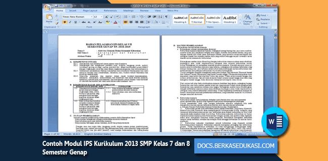 Contoh Modul IPS Kurikulum 2013 SMP Kelas 7 dan 8 Semester Genap