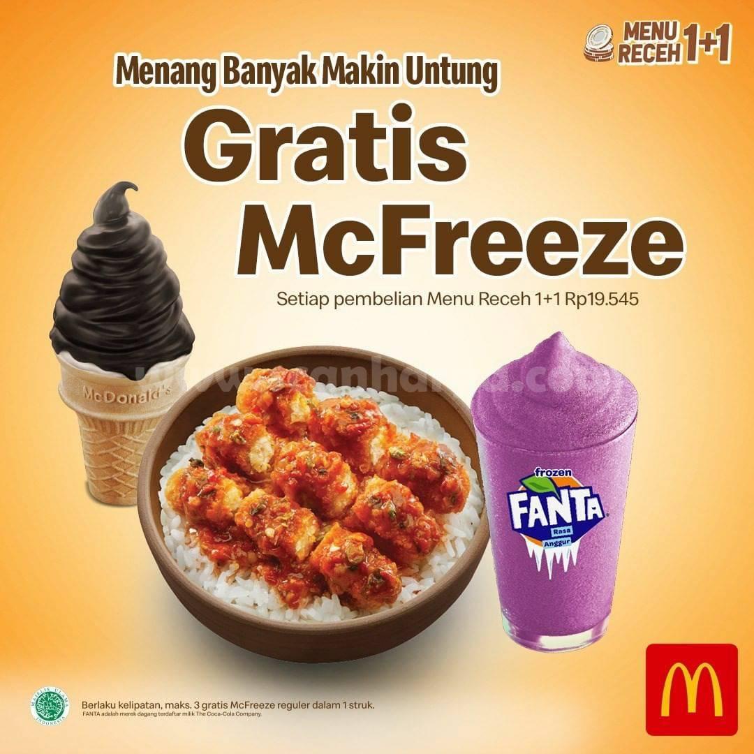 Promo McDonalds GRATIS McFreeze setiap pembelian Menu Receh 1+1 Rp19.545