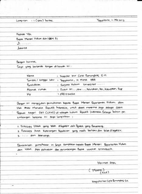 Contoh surat lamaran kerja CPNS (tulis tangan)