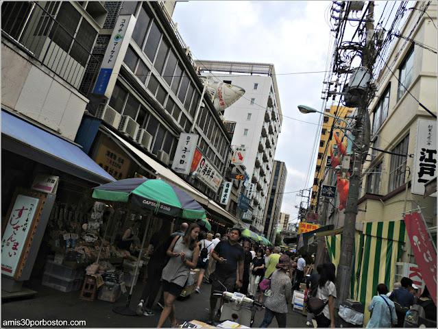 Puestos en el Mercado de Pescado de Tsukiji, Tokio