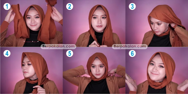 Style Keempat Tutorial Hijab Segi Empat pada saat Terburu-buru Simple dan Modis