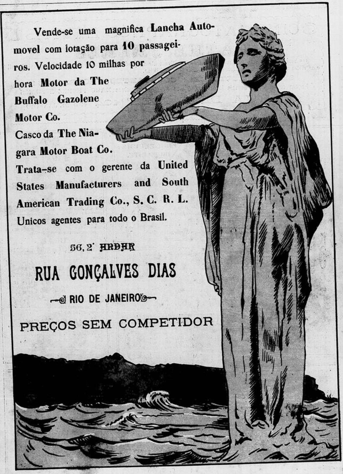 Anúncio de venda de lancha no Rio de Janeiro em 1908
