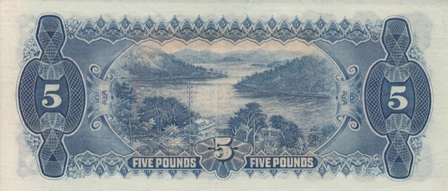 Australia 5 Pounds banknote 1928 Hawkesbury River near Peat's Ferry in New South Wales, Australia