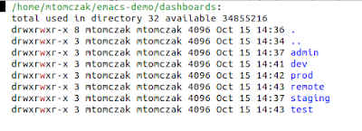 A list of directories displayed in the emacs *dired* mode