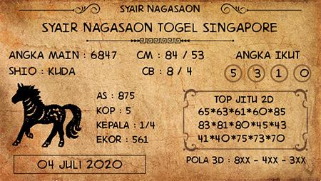 Prediksi Nagasaon SGP Togel Singapura Sabtu 04 Juli 2020