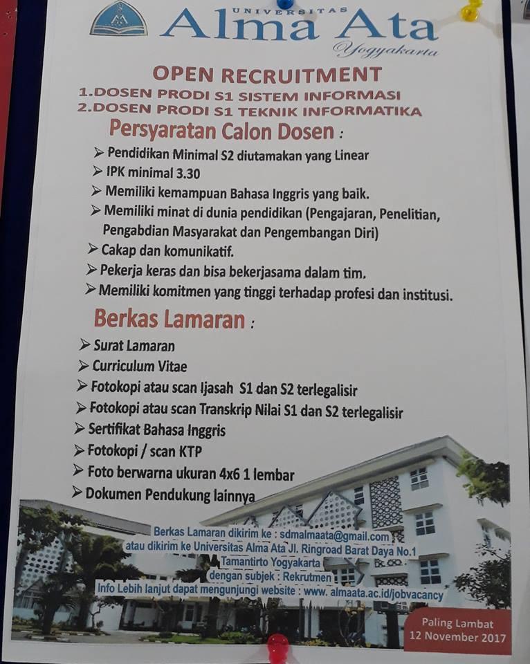 Lowongan Dosen Sistem Informasi & Teknik Informatika Universitas Alma Ata Yogyakarta