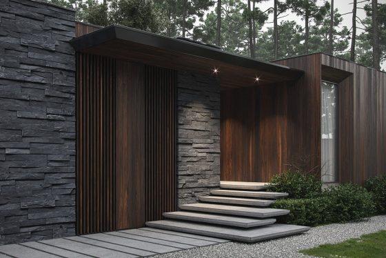 Diseño moderno de una casa de campo de un piso