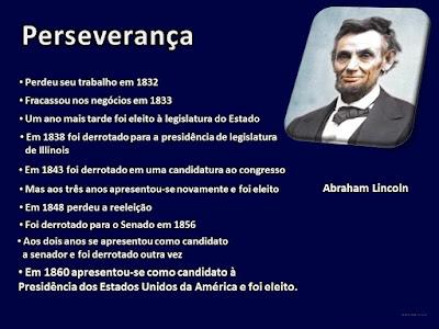 Abraham Lincon perseverança