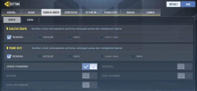 Setting grafik COD Mobile