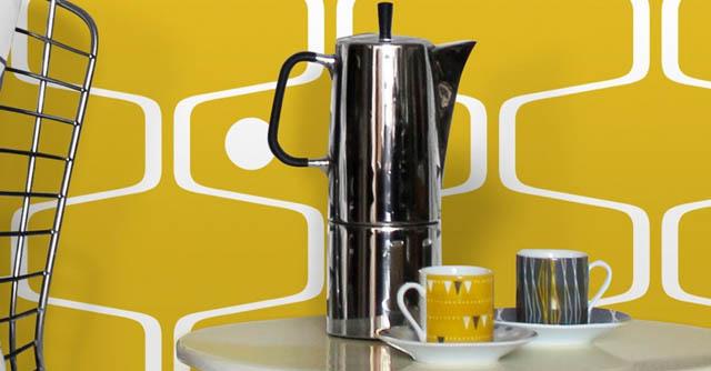 Papel pintado amarillo para la cocina