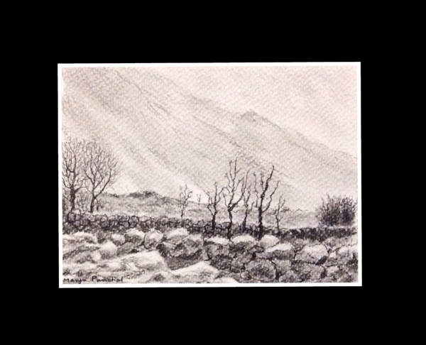 charcoal sketching of Nako village by Manju Panchal