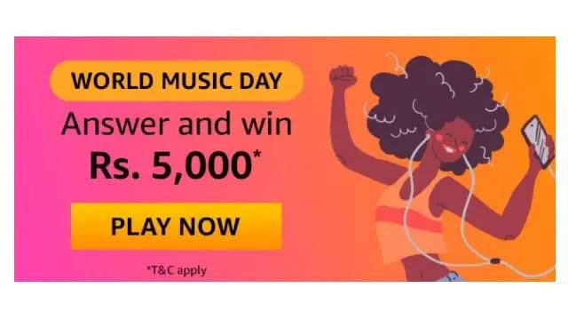 Amazon World Music Day QUIZ Answers & Win ₹5,000 Pay Balance