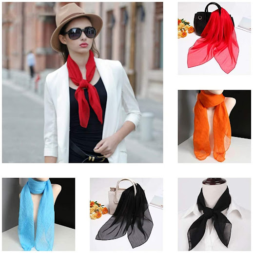 Colorful 1950's Vintage Style Sheer Chiffon Scarves