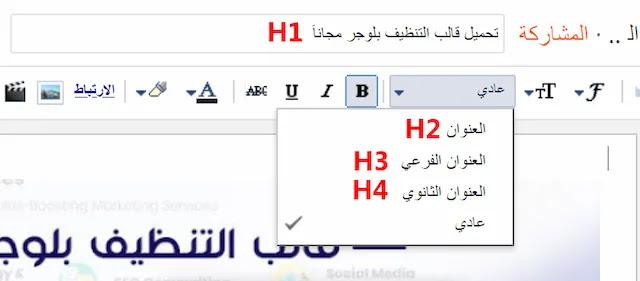 طريقة تنسيق عناوين بلوجر H2 , H3 , H4