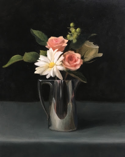 rose bouquet, silver pitcher