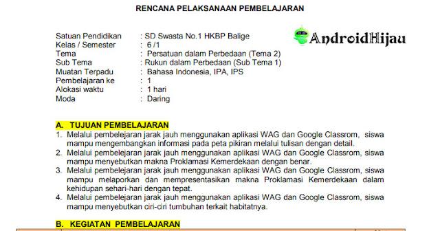RPP Daring kelas 6 tema 2 sub tema 1, RPP pembahasan lengkap Kelas 6 tema 2 sub tema 1, RPP 1 halaman k13 2020 kelas 6 tema 2 sub tema 1