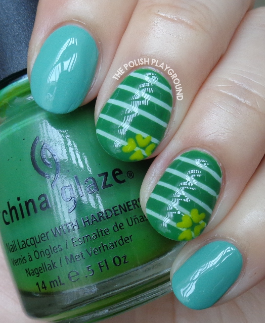 St. Patrick's Day Inspired Stripes and Clover Nail Art