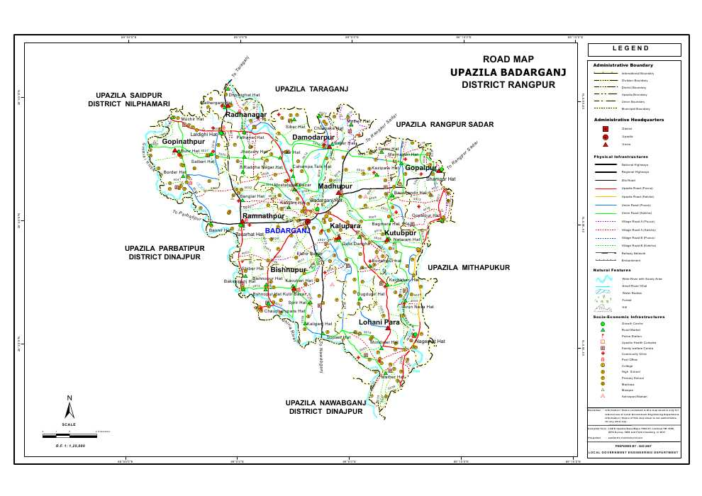 Badarganj Upazila Road Map Rangpur District Bangladesh