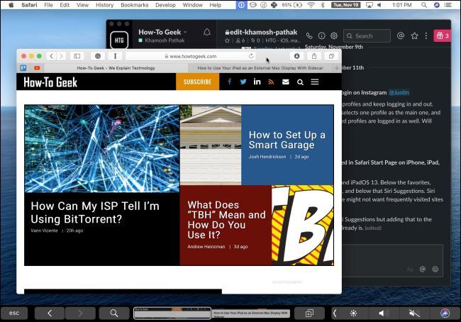 جهاز iPad يستخدم Duet لإظهار شاشة Mac.