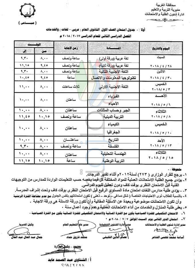 جدول امتحانات الصف الأول الثانوي 2018 الترم الثاني محافظة الغربية