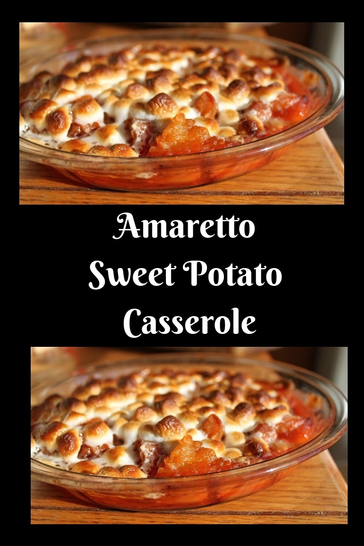 baked sweet potato casserole with a hint of Amaretto for the Thanksgiving table