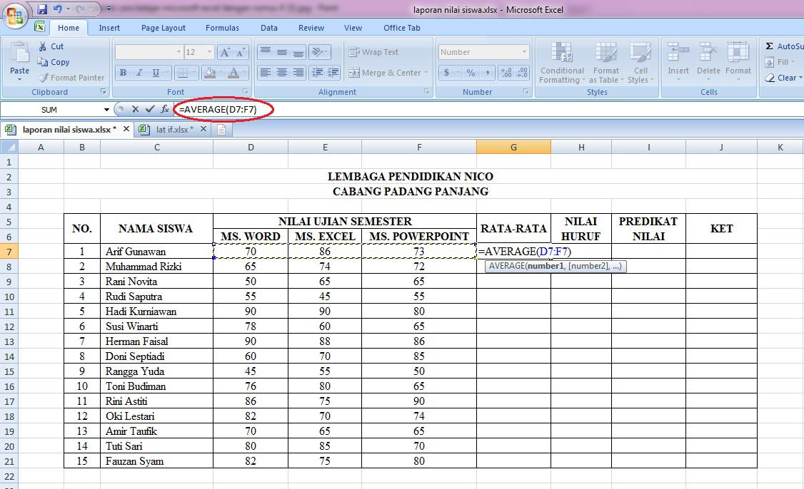 perhitungan, penjumlahan, rumus, rata, nilai, siswa, microsoft, excel, otomatis