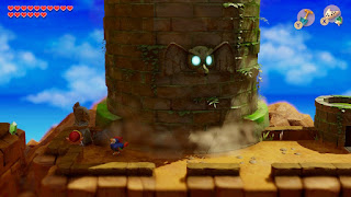 Link and the Flying Rooster in front of the Eagle's Tower. The tower is in the middle of rotating.
