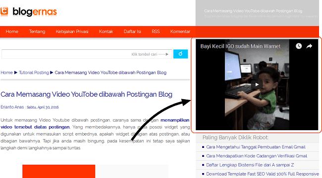 Cara Menayangkan Video YouTobe di Sidebar Blog