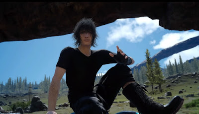 Screenshot of Noctis from Final Fantasy XV sitting on a rock, posing for the camera.