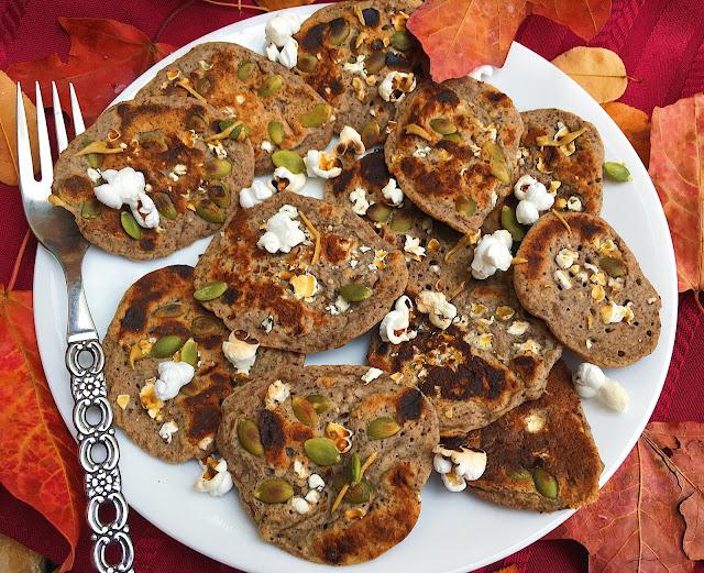 Popcorn Pumpkin Pancakes (Gluten Free, Vegan)