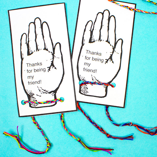 Free Printable Hand Friendship Bracelet Valentines for kids- DIY Holiday