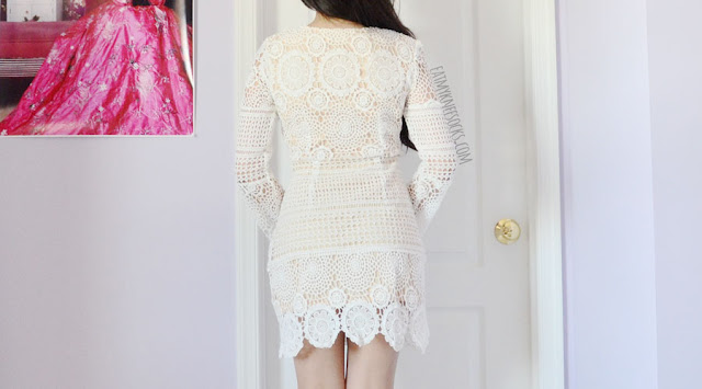 Details on the boho-chic vacation-ready bell sleeve crochet lace-up shift dress from SheIn, a perfect summer piece for the festival or the beach.