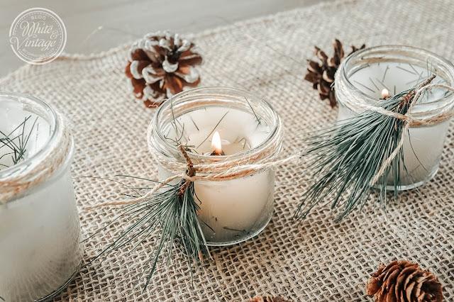 Winterkerzen aus Kiefernnadeln selber machen