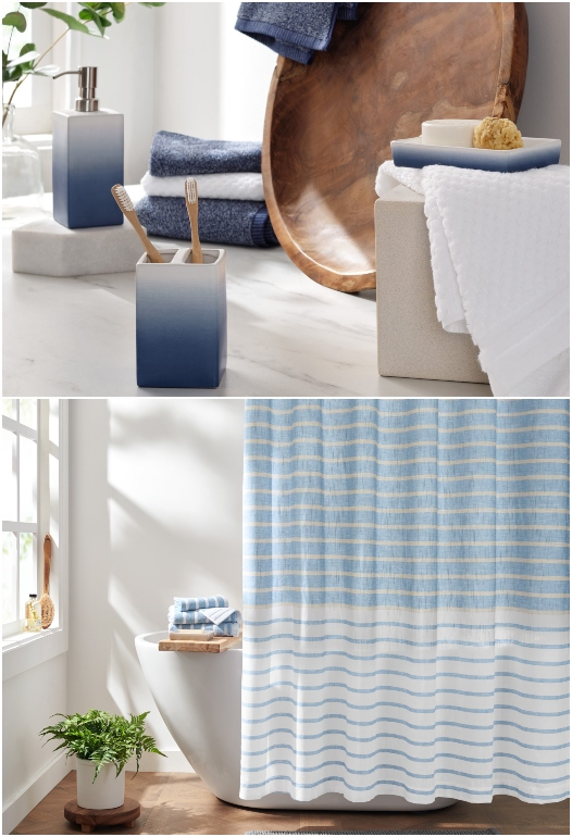 Ombre Blue and Striped Bathroom Accessories Shower Curtains