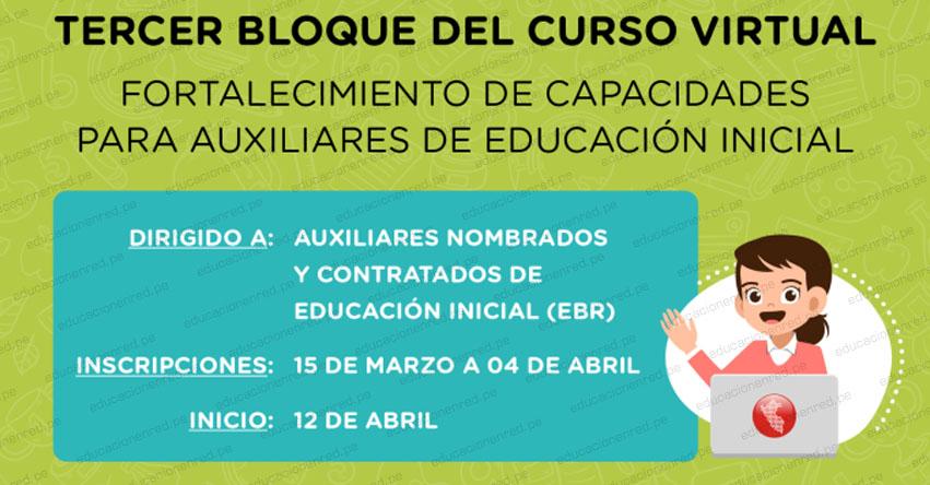 PERUEDUCA: Curso Virtual para Auxiliares del Nivel Inicial de Educación Básica Regular - EBR [INSCRIPCIONES HASTA EL 4 ABRIL 2021] www.perueduca.pe
