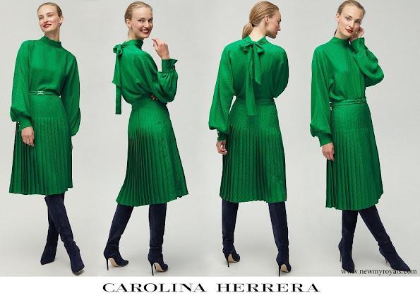 Queen Mathilde wore Carolina Herrera Rosetta Insignia Crepe Top