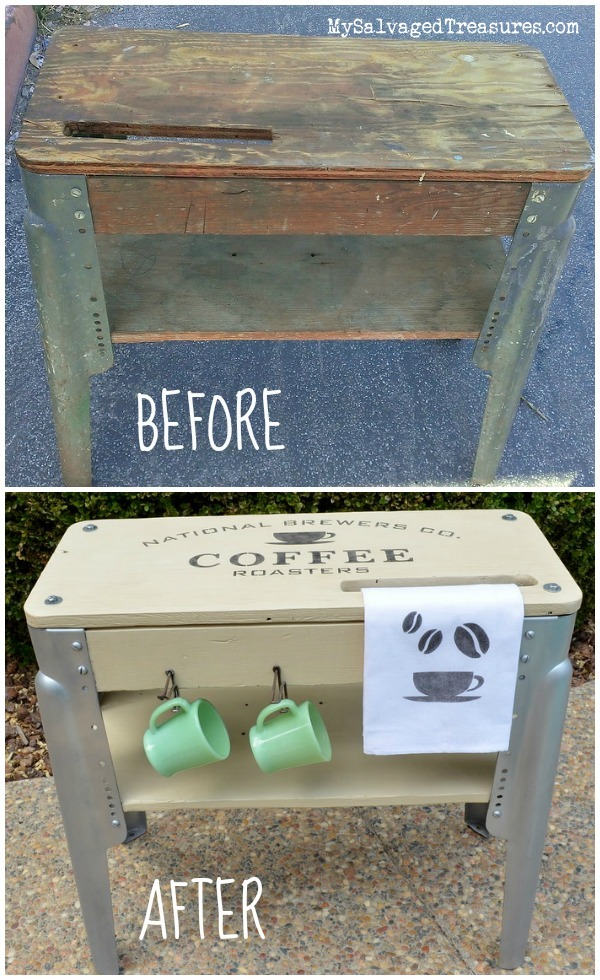 transform a junky old workbench into a coffee station