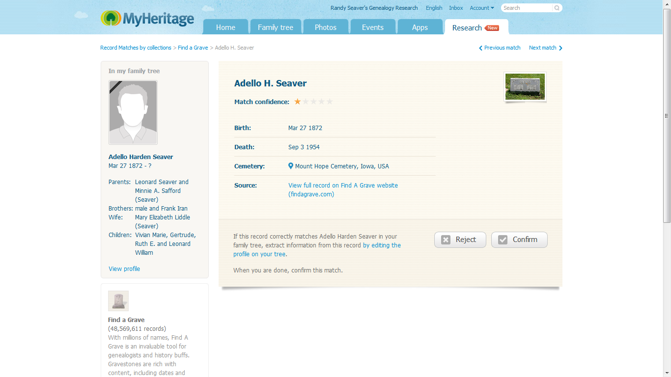 Genea-Musings: Using MyHeritage Record Matches to Find Find-A-Grave