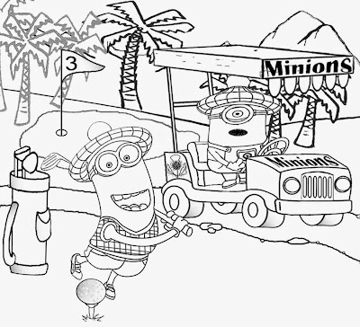 Best kids movie despicable me coloring golf minion activity pages golfing cart cartoon drawing image