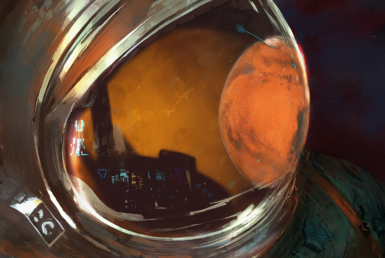 Astronaut looking at Mars by Jean-Michel Trauscht