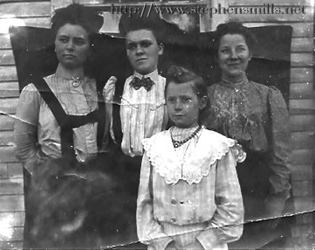 photo of Back - L to R   Emma Jackson, Katherine Jackson, Abby Jackson  Front - Andrew Jackson  Children of  Nelson Jackson 1833-1899  and Emeline Swift 1839 - 1878