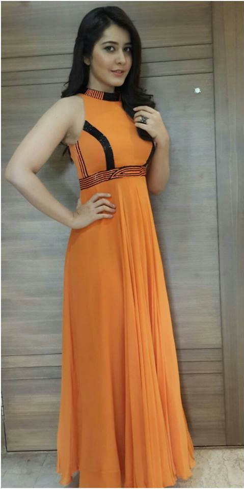 Spicy Photoshoot Of Rashi Khanna In Orange Dress Publish