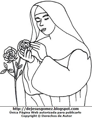 Dibujo de Santa Rosa de Lima cuidando rosas para colorear para niños. Imagen de Santa Rosa de Lima hecho por Jesus Gómez