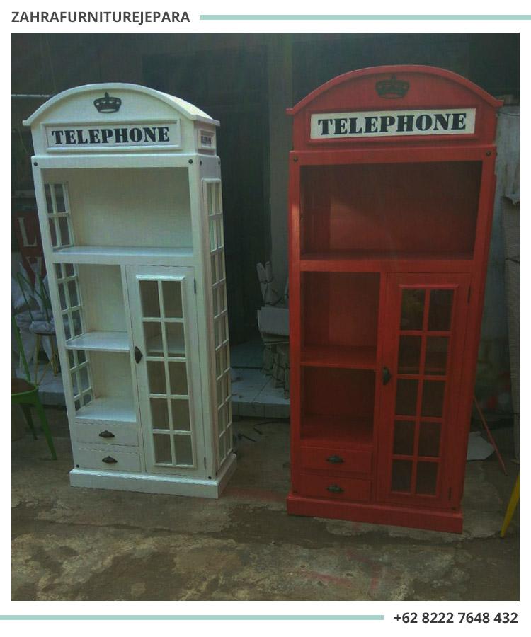 LEMARI RAK BUKU KAYU TELEPON - BOX TELEPHONE MURAH