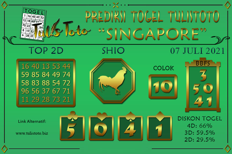 Prediksi Togel SINGAPORE TULISTOTO 07 JULI 2021