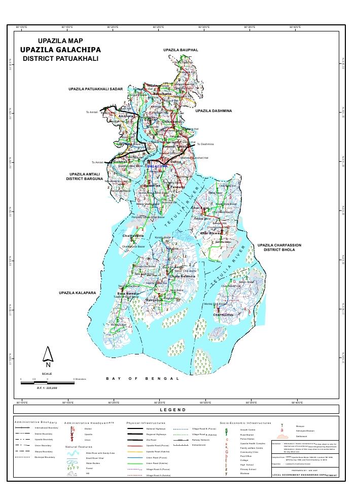 Galachipa Upazila Map Patuakhali  District Bangladesh