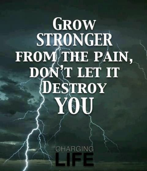 Grow stronger from the pain, Don't let it destroy you