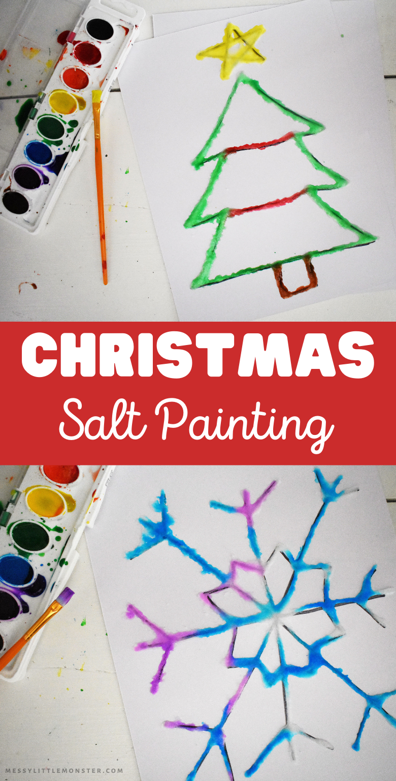 Raised salt paining for kids. A fun Christmas art project for kids of all ages.