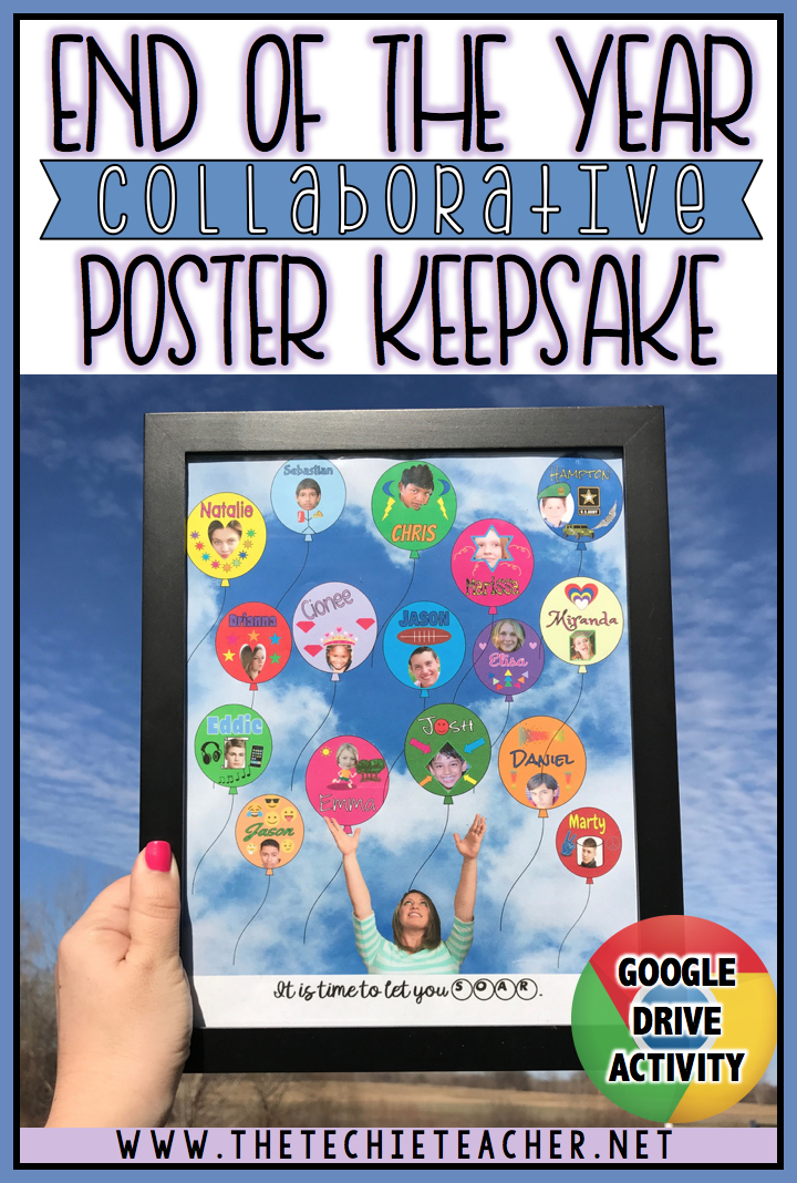 End of the Year COLLABORATIVE Poster Keepsake that students complete in Google Drive using Google Drawing and Google Slides.